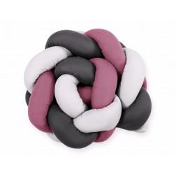 SKLADEM - Mantinel pletený do copu MAGIC LOOP - bílá + retro růžová + antracitová