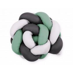 SKLADEM - Mantinel pletený do copu MAGIC LOOP - bílá + retro zelená + antracitová