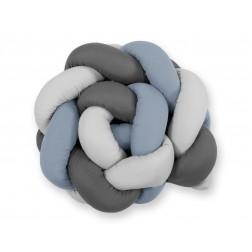 Mantinel pletený do copu MAGIC LOOP - šedá + retro modrá + antracitová