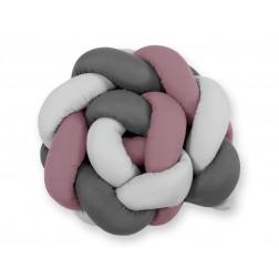 Mantinel pletený do copu MAGIC LOOP - šedá + retro růžová + antracitová