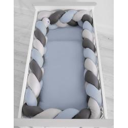 Mantinel XXL pletený do copu MAGIC LOOP - šedá + retro modrá + antracitová