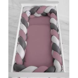 Mantinel XXL pletený do copu MAGIC LOOP - šedá + retro růžová + antracitová