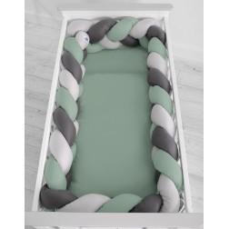 Mantinel XXL pletený do copu MAGIC LOOP - šedá + retro zelená + antracitová