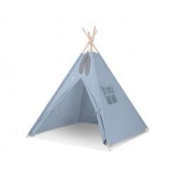 Dětský stan TÝPÍ (bez deky na podlaze a bez polštářků) - retro modrá