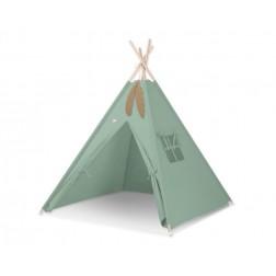 Dětský stan TÝPÍ (bez deky na podlaze a bez polštářků) - retro zelená