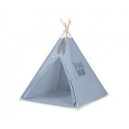 Dětský stan TÝPÍ s oboustrannou dekou (bez polštářků) - retro modrá