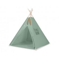 Dětský stan TÝPÍ s oboustrannou dekou (bez polštářků) - retro zelená