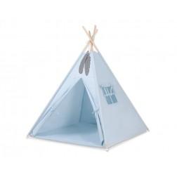 Dětský stan TÝPÍ s oboustrannou dekou (bez polštářků) - modrá