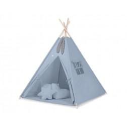 Dětský stan TÝPÍ s oboustrannou dekou a polštářky - retro modrá