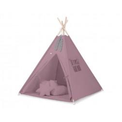 Dětský stan TÝPÍ s oboustrannou dekou a polštářky - retro růžová