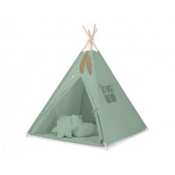 Dětský stan TÝPÍ s oboustrannou dekou a polštářky - retro zelená