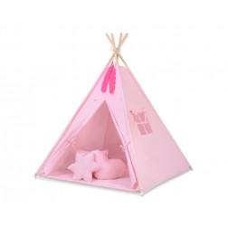 Dětský stan TÝPÍ s oboustrannou dekou a polštářky - růžová