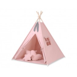 Dětský stan TÝPÍ s oboustrannou dekou a polštářky - starorůžová