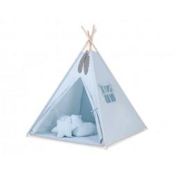 Dětský stan TÝPÍ s oboustrannou dekou a polštářky - modrá