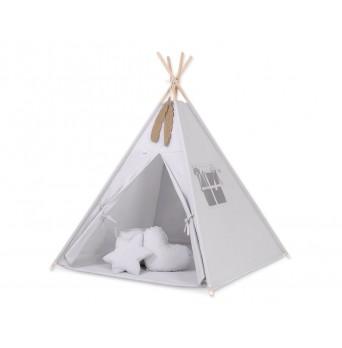 Dětský stan TÝPÍ s oboustrannou dekou a polštářky - šedá