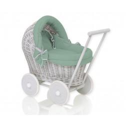 Proutěný kočárek pro panenku šedý - 61703-1064