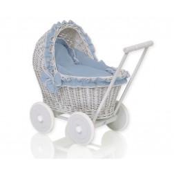 Proutěný kočárek pro panenku šedý - 61702-1062