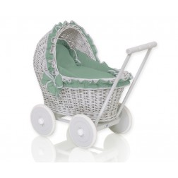 Proutěný kočárek pro panenku šedý - 61702-1064
