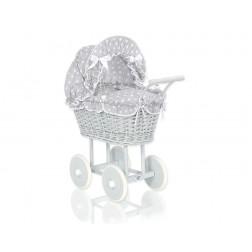 Proutěný kočárek pro panenku šedý 61699-583
