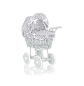 SKLADEM - Proutěný kočárek pro panenku šedý 61699-583