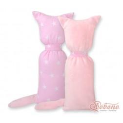 Polštářek - přitulníček kočička MINKY - hvězdy na růžovém