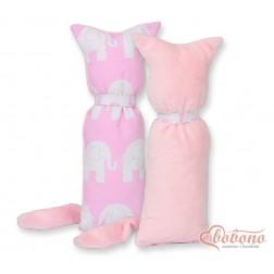 Polštářek - přitulníček kočička MINKY - sloni na růžovém