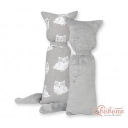 Polštářek - přitulníček kočička MINKY - sovy na šedém