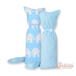 Polštářek - přitulníček kočička MINKY - sloni na modrém