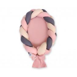 Kokon pro miminko pletený 2v1 MAGIC LOOP - béžová + starorůžová + antracit / starorůžová