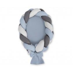 Kokon pro miminko pletený 2v1 MAGIC LOOP - retro modrá + šedá + antracit / retro modrá