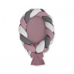 Kokon pro miminko pletený 2v1 MAGIC LOOP - retro růžová + šedá + antracit / retro růžová