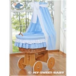 Proutěný koš na miminko s nebesy - modrý