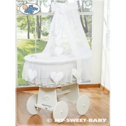 Bílý proutěný koš na miminko s nebesy SRDÍČKA 79582-123