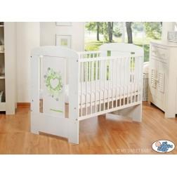 Dětská postýlka CHIC bílá - 7 zelený ornament
