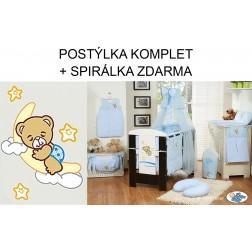 Dětská postýlka komplet DOBROU NOC moskytiéra a mantinel L - modrá