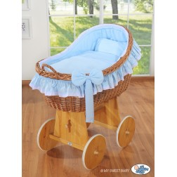 Proutěný koš na miminko MY SWEET BABY - Carina modrý