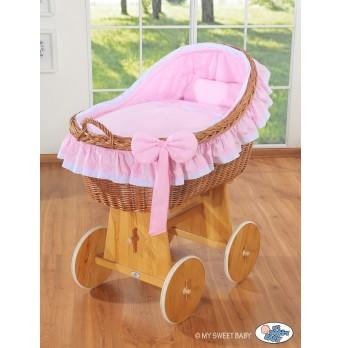 Proutěný koš na miminko MY SWEET BABY - Carina růžový