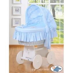Bílý koš na miminko s boudou DOBROU NOC - modrý