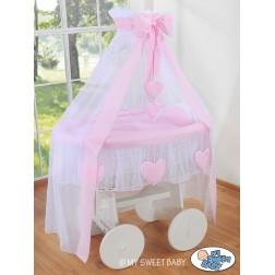 Bílý koš na miminko Deluxe AMELIE - růžový