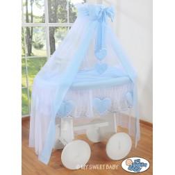 Bílý koš na miminko Deluxe AMELIE - modrý
