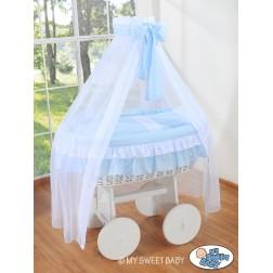 Bílý koš na miminko Deluxe BELLAMY - modrý