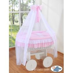 Bílý koš na miminko Deluxe BELLAMY - růžový