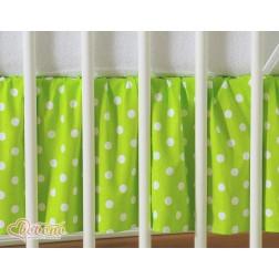 Prostěradlo s volánem - postýlka 120x60 cm - puntíky na zeleném
