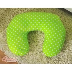 Náhradní povlak na kojící polštář - puntíky na zeleném