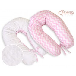 Kojící a relaxační polštář LONGER MINKI - CIKCAK růžovo + bílý plyš