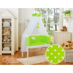 Dětská postýlka MINI s kompletní výbavou SRDÍČKA puntíky na zelené