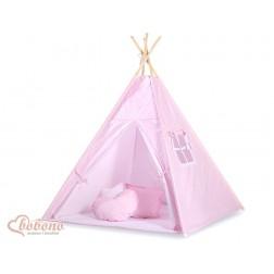 Dětský stan TÝPÍ s oboustrannou dekou (bez polštářků) - puntíky na růžovém