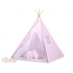Dětský stan TÝPÍ s oboustrannou dekou (bez polštářků) - CIKCAK růžová