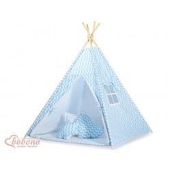 Dětský stan TÝPÍ s oboustrannou dekou (bez polštářků) - CIKCAK modrá