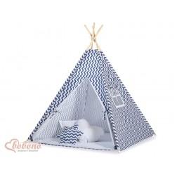 Dětský stan TÝPÍ s oboustrannou dekou (bez polštářků) - CIKCAK tmavě modrý